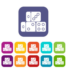 three dice cubes icons set vector image