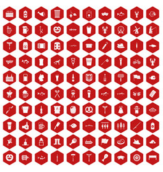 100 beer icons hexagon red vector