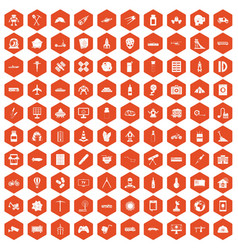 100 development icons hexagon orange vector image