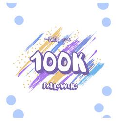 100k folllowers social media template vector