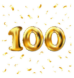 100th celebration gold balloons and golden vector image