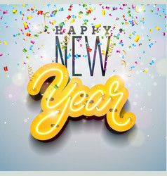 2019 happy new year with bright neon vector image