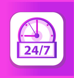 24 7 clock icon flat design watches 24h 7 days vector