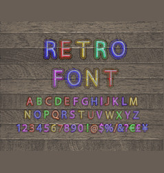 3d oblique retro font on wooden backgrond vector image