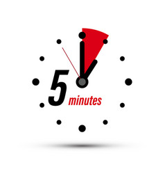 5 - five minutes analogue clock symbol isolated vector