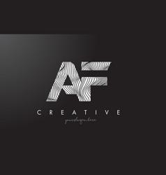 Af a f letter logo with zebra lines texture vector