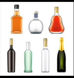 alcohol drinks bottles realistic set vector image