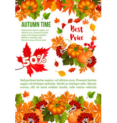 autumn sale banner template for thanksgiving day vector image
