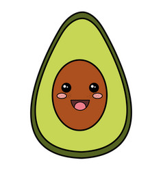 Avocado half fresh kawaii character vector