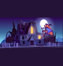 beautiful witch flying on broom near haunted house vector image