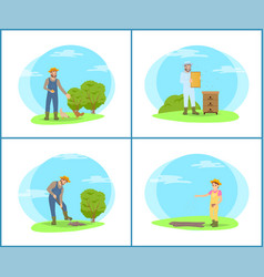 beekeeper on land and farmers vector image