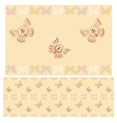 Beige butterflies seamless pattern vector image