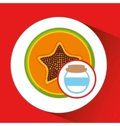 Big jar papaya jam icon design vector