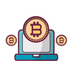 bitcoin with computer vector image