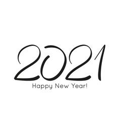 black number 2021 hand drawn vector image