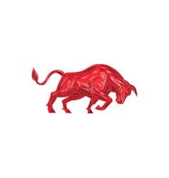 Bull charging drawing vector