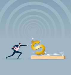 businessman running to mousetrap business concept vector image