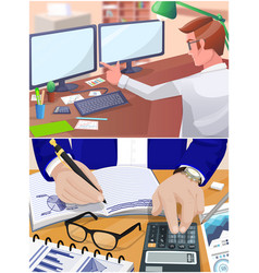 businessman working with documents sitting vector image
