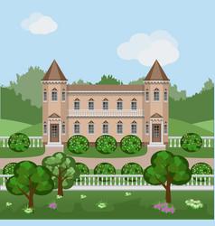 Cartoon fairy tale castle in summer landscape vector