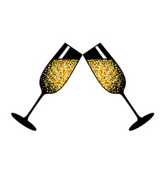 champagne white glasses vector image