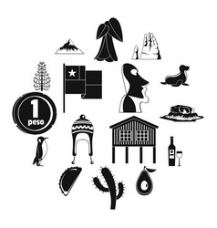 cjile travel icons set simple style vector image