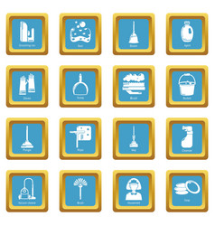 cleaning tools icons set sapphirine square vector image