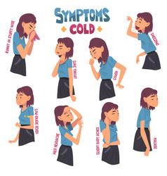 Cold symptoms set gitl having cough malaise vector