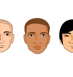 Collection of cartoon man faces of different races vector