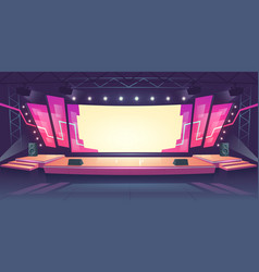 concert stage with screen and spotlights vector image