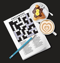 Crossword game with mug of coffee and crepe vector