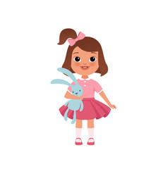 Cute litlle girl with toy bunny stage of growing vector