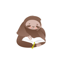 cute sloth sitting and reading book with interest vector image