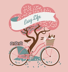 Cute Web Banner with a Bike and Tree vector image