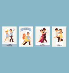 Dancing man and woman ballroom sports dances vector