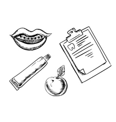 Dental and hygiene sketch icons vector