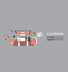 elearning online education banner with student vector image