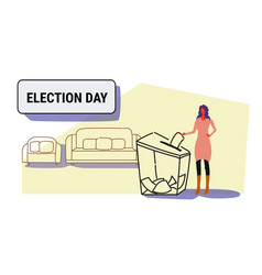 Election day concept businesswoman voter putting vector