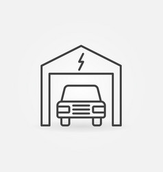 electric car in garage outline icon vector image