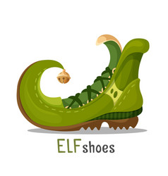 Elf shoes with curved end and golden round bell vector