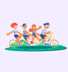 Family tandem bicycle cartoon concept with parents vector