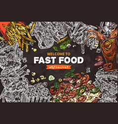 fast food background on chalkboard vector image