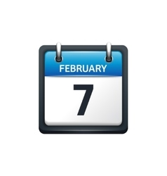 February 7 Calendar icon flat vector image