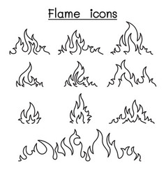 fire flames icon set in thin line style vector image