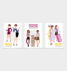 flat woman characters posters vector image