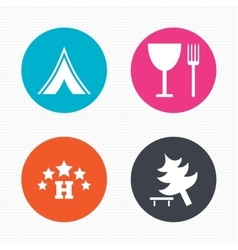 Food hotel camping tent and tree signs vector image