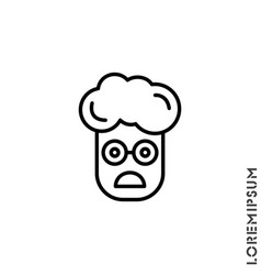 Frowning with open mouth emoji outline boy vector