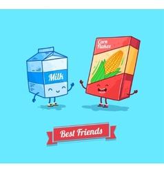 Funny cartoon funny cornflake and milk vector