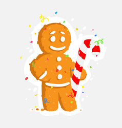 gingerbread man with caramel cane a sticker vector image