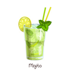 Glass mojito cocktail vector