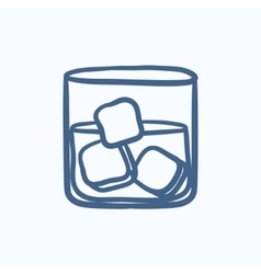 Glass of water with ice sketch icon vector image